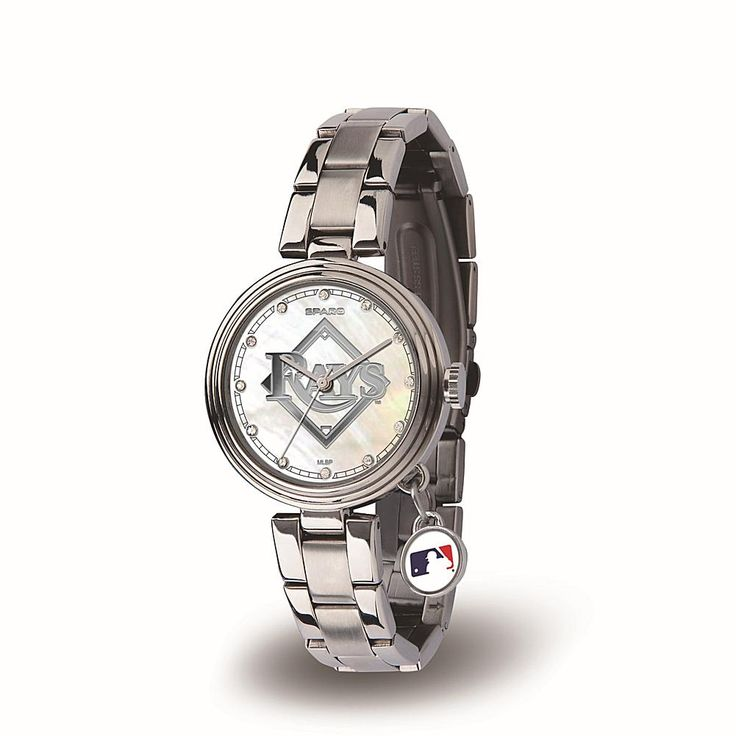 Football Fan Shop MLB Team Logo Mother-of-Pearl and Crystal Watch with Dangle Charm - Tampa Bay Rays