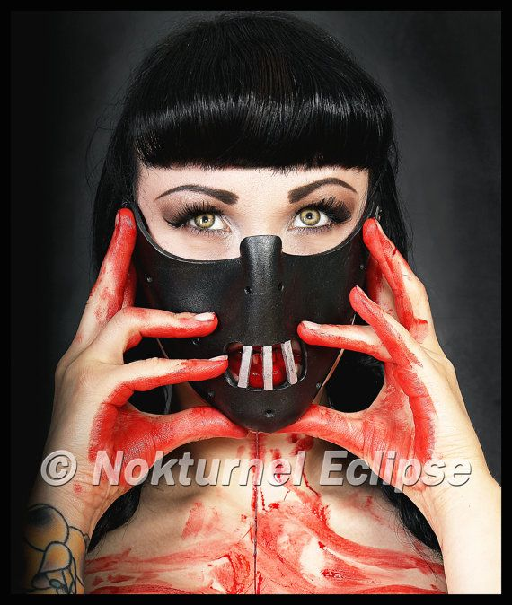 Noir de Hannibal Lecter masque horreur Fan Fetish Masquerade Ball Cosplay Halloween effrayant BDSM Costume unisexe - disponible n