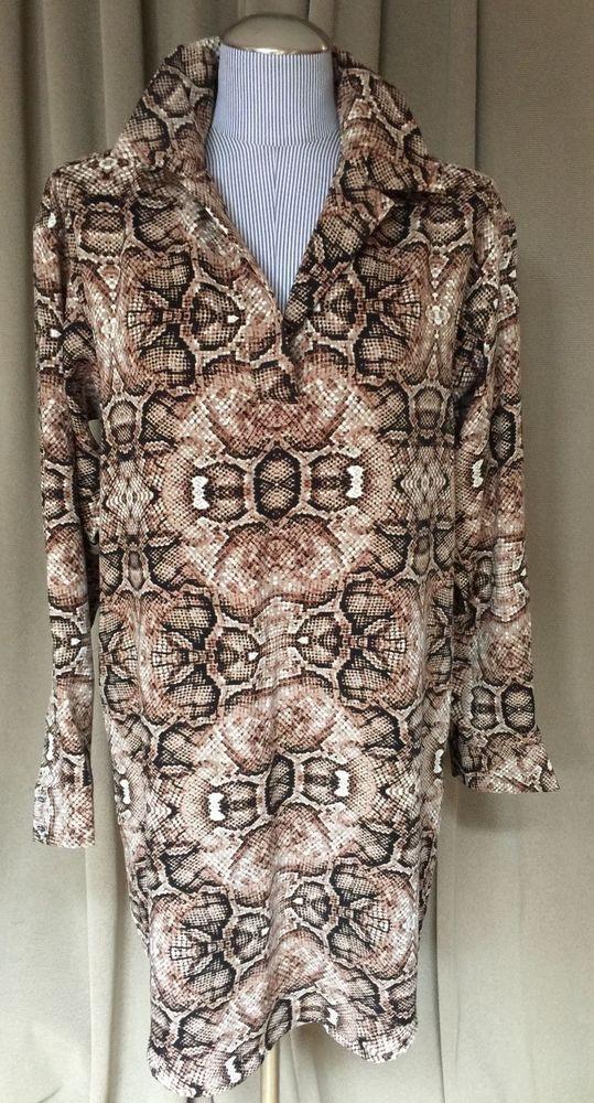 Joe Fresh NEW brown white snakeskin print tunic dress S/P $140 #joefresh #tunicdress #versatileHOLIDAY