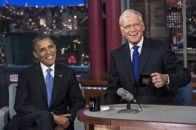 President Obama on David Letterman 2014 - up until then, no sitting US President had ever made an appearance on any talk show - Elle