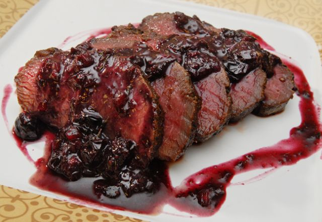 Fruit and game are a perfect match. Seared Venison with Blueberry sauce.