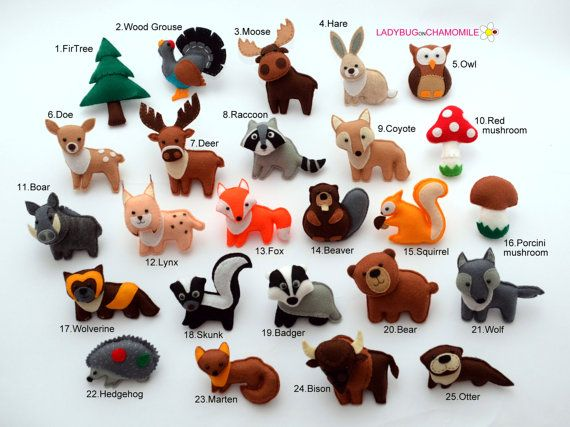 Forest Animals,woodland animals felt magnets  - CHOOSE YOUR ITEMS - Price per 1 item - make your own set