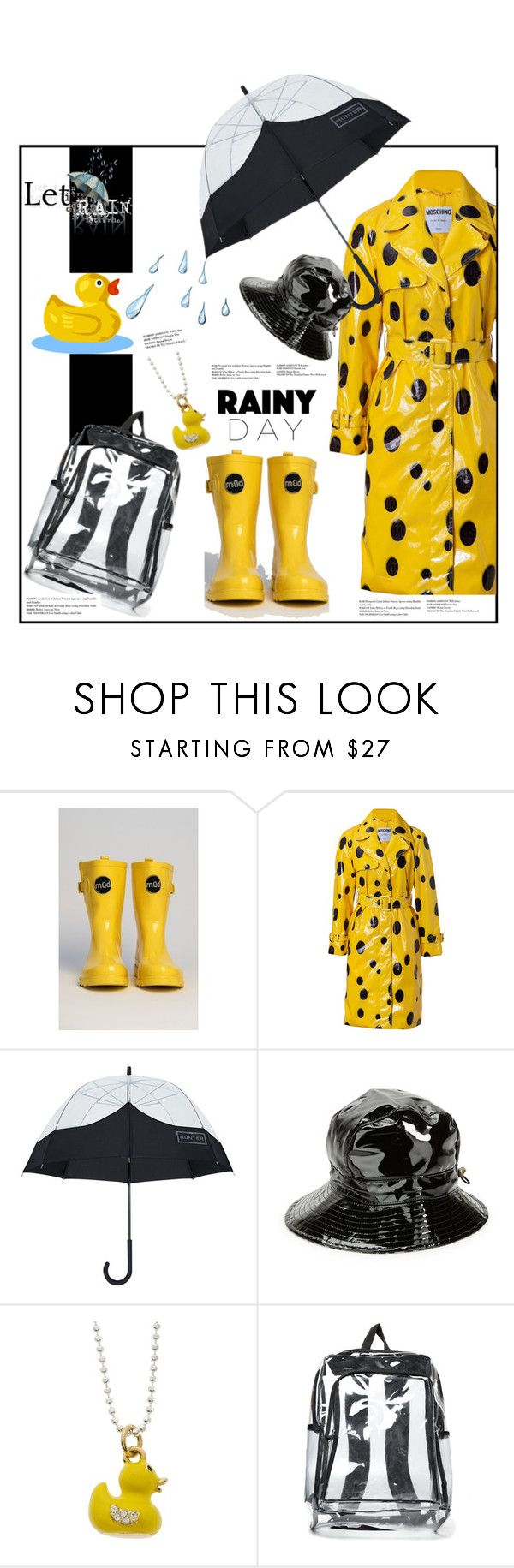"""Let It Rain'"" by dianefantasy ❤ liked on Polyvore featuring Moschino, Hunter, Karen Kane, Charming Life, polyvoreeditorial and rainydaystyle"