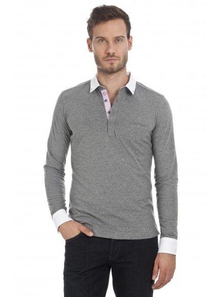 Polo coupe cintrée à manches longues en jersey gris