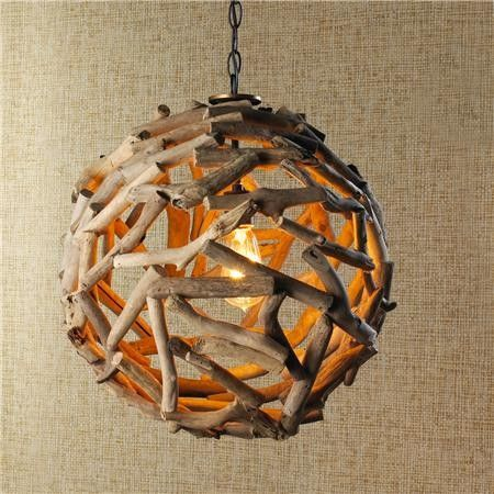 Driftwood Ball Pendant Light - Shades of Light