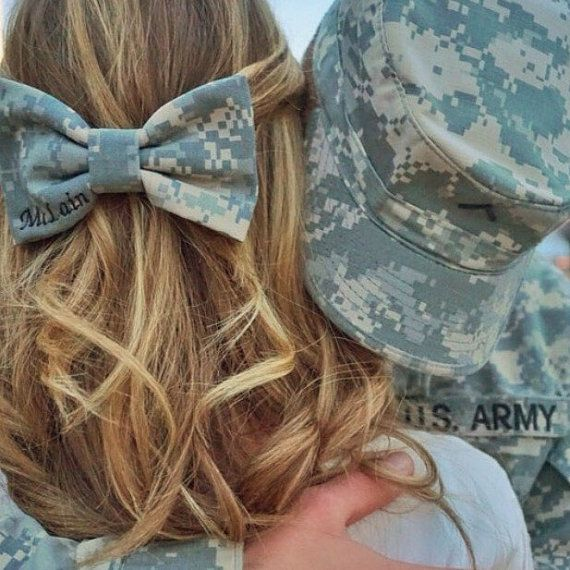 Custom Military Camo Classy Corner Name Tape Bow by PatrioticBows