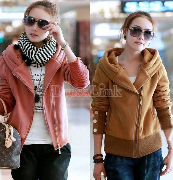 Women's Lovely Hooded Outerwear Coat Long Sleeve Hoodies Sweats