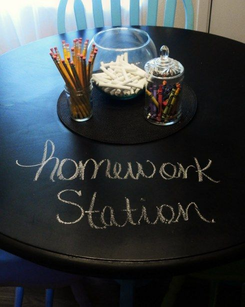 A chalkboard homework table. Instead of using scratch paper! (This is rather brilliant!)  This is very cool