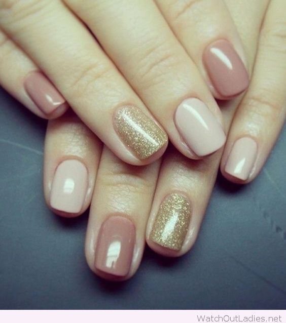 Simple nude and gold nail design inspiration