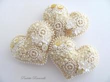 sweet hearts :-): Felt Hearts, Embellished Hearts, Felt Crafts, Valentines, Beaded Hearts, Diy, Valentine S, Embroidery