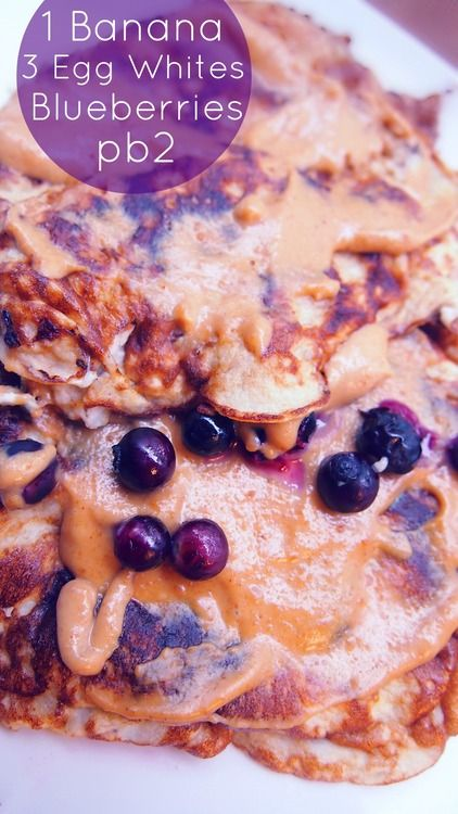 banana-egg white pancakes topped with blueberries and pb2 (powdered peanut butter)  I've never tried the pb2, but even the pancakes topped with blueberries sound awesome!