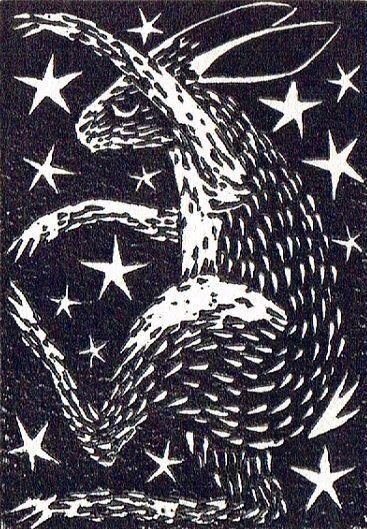 Rabbit Linocut Lino Print Printmaking Hand by BridgetFarmerArtist