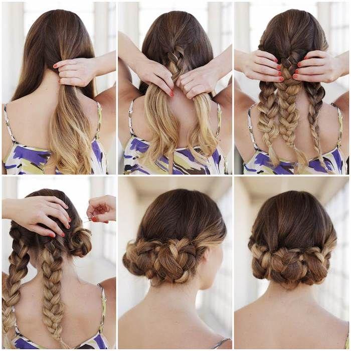 einfache hochsteckfrisuren, braune haare im ombre look, drei große zöpfe, haare flechten