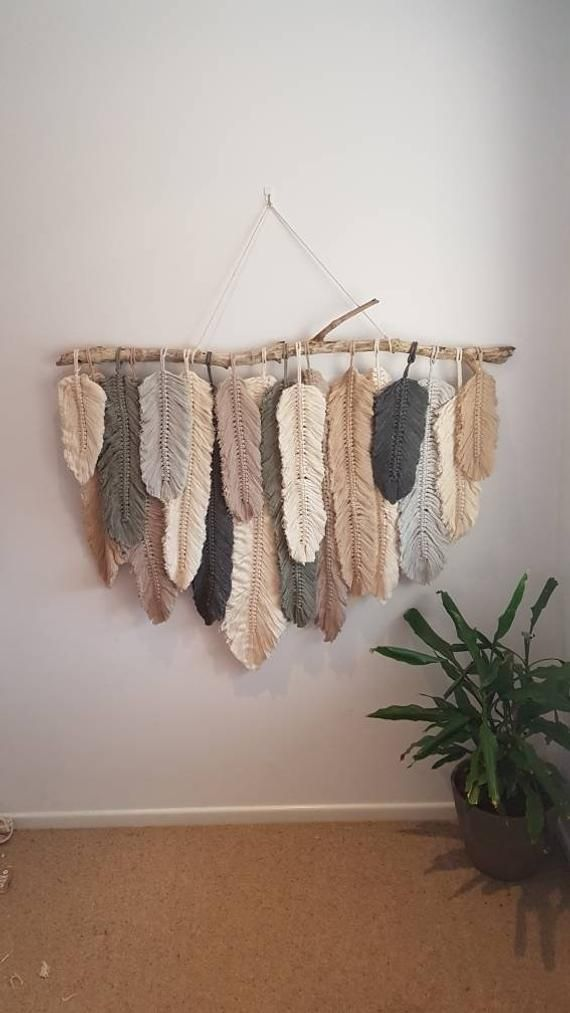 Feather wall hanging macrame