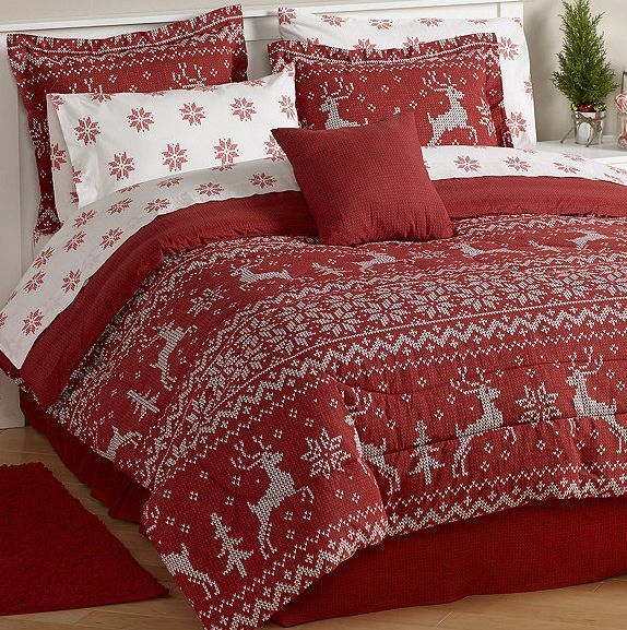 christmas holiday red reindeer sweater bedding comforter set king