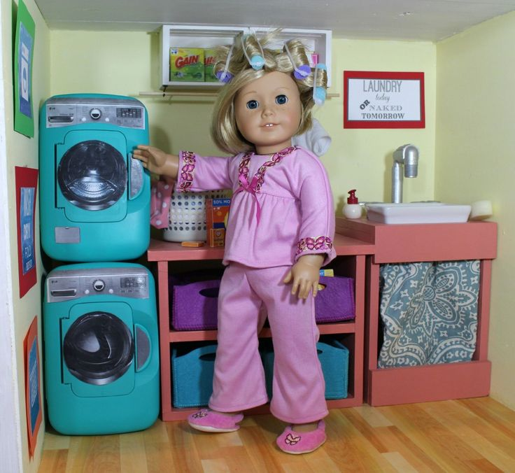 American Girl Laundry Room // DIY Washer and Dryer out of Pamper Wipes Containers