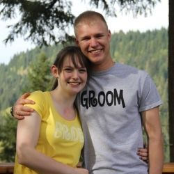 Bride and groom custom t's! See how she made them with freezer paper and fabric paint.