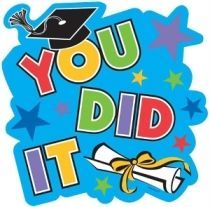 """Graduation Cutouts 10.5in 12ct Congratulations! You did it! Let that young graduate feel your heartwarming greeting with the help of this sturdy, graduation cutout that features the words: """"You Did It"""" in colorful letters set on a sky blue background with accents of multi-colored stars, a graduate's hat and a diploma. It'll help you get that uplifting message across in no time! Package contains 12 graduation cutouts."""