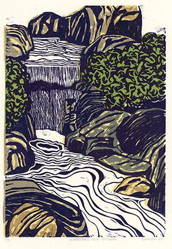 Waterfall & Stream Linocut Print   Sold out. My second print…   Flickr