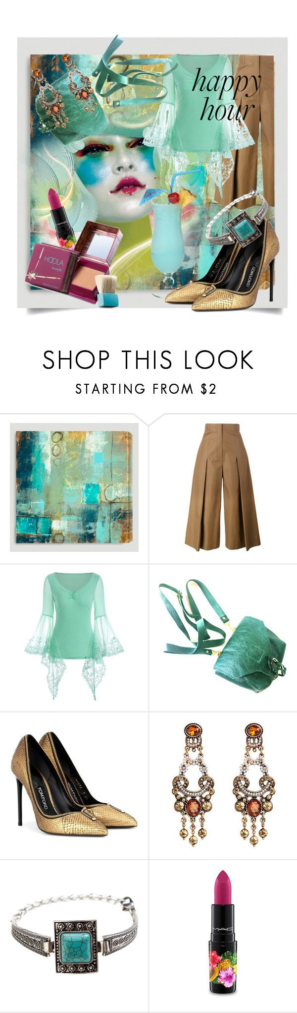 """""""Bottoms Up: Happy Hour"""" by kari-c ❤ liked on Polyvore featuring Cost Plus World Market, Fendi, Tom Ford, MAC Cosmetics, Benefit and happyhour"""