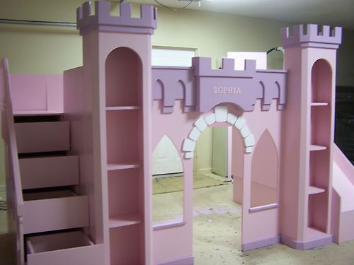 "New Custom Princess Sophia Castle Loft Bed ""Free Staircase 