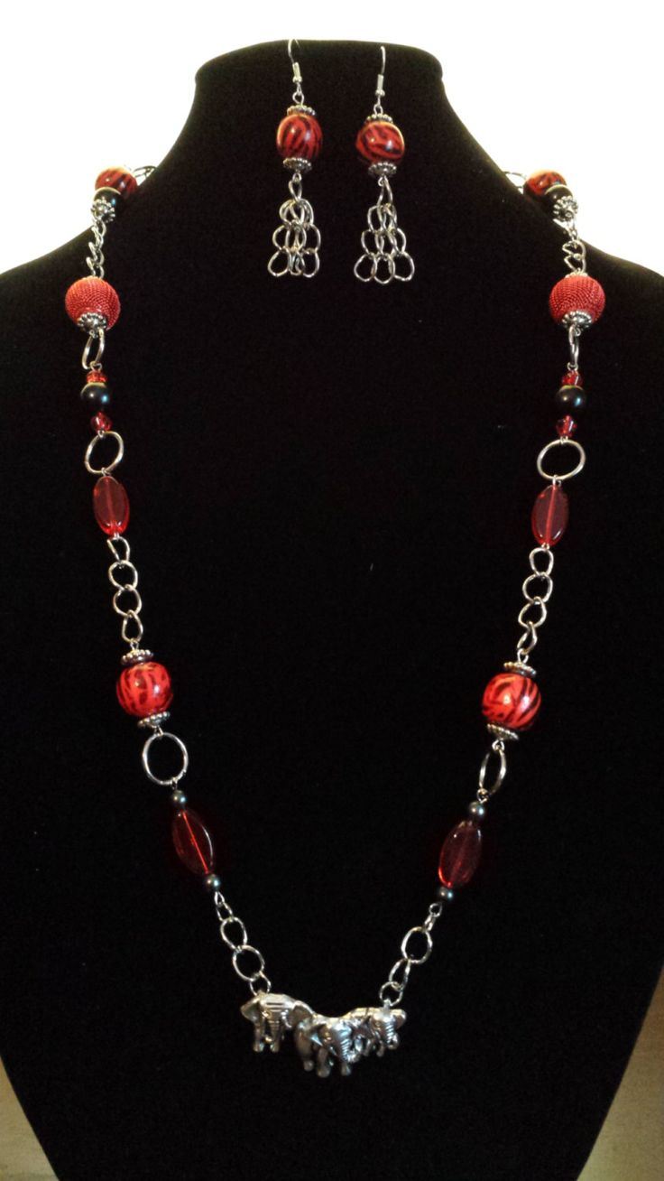 Red Elephant Necklace Set by Sounique2013 on Etsy, $30.00