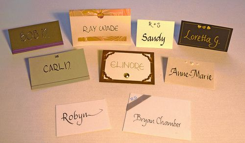 Range of place cards to match any theme and displaying a selection of calligraphy styles. Ideal for weddings, awards dinners and other special occasions.