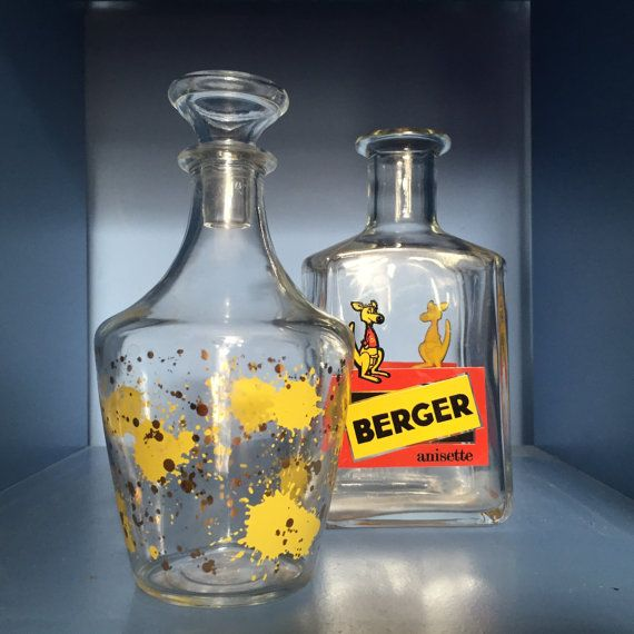 Vintage Glass Decanter. Midcentury Carafe Yellow by houseofceleste