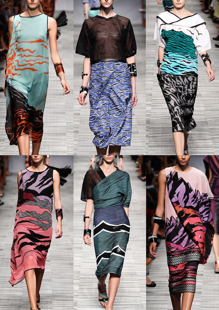 Missoni S/S 2014-Abstract Primal Prints – Pop Art Inspired – Mountain Landscape Prints – Pattern Clashes – Striped Borders – Geometric Impact – Bold Re-colou...