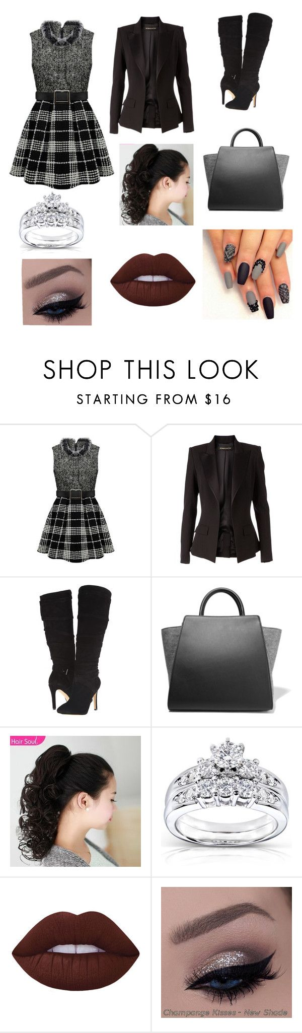 """Gray and Black"" by cheerleader1o1 on Polyvore featuring Alexandre Vauthier, GUESS, ZAC Zac Posen, Kobelli and Lime Crime"