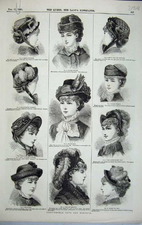 1890-ish hats and bonnets 1890s