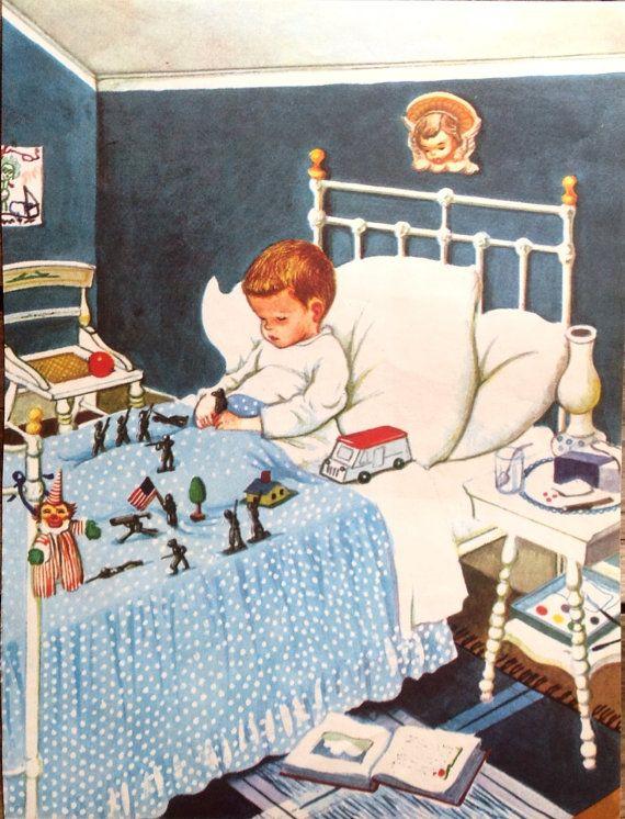 Blue boy bedroom vintage print original book page by accoladefive