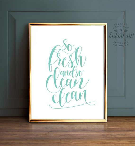 Bathroom art, So fresh and so clean clean, PRINTABLE art, Blue bathroom art, Laundry room decor, Laundry room art, Turquoise bathroom art