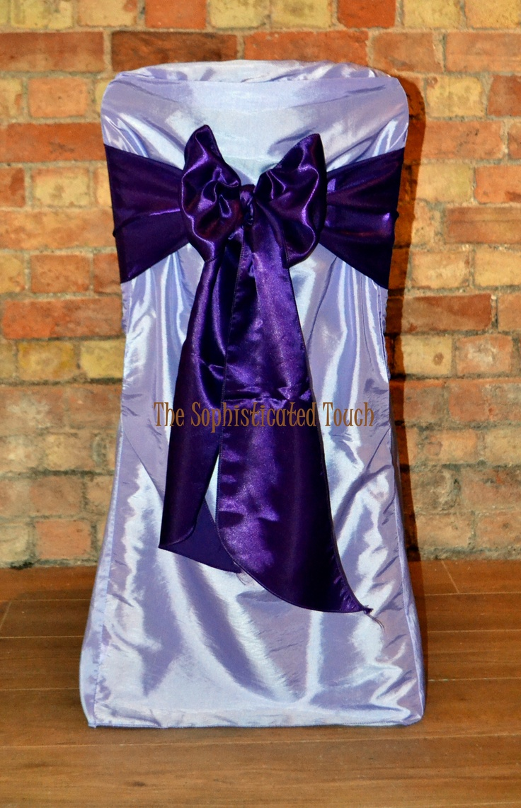 Lilac Chair Covers with Cadburys Purple Satin Bows