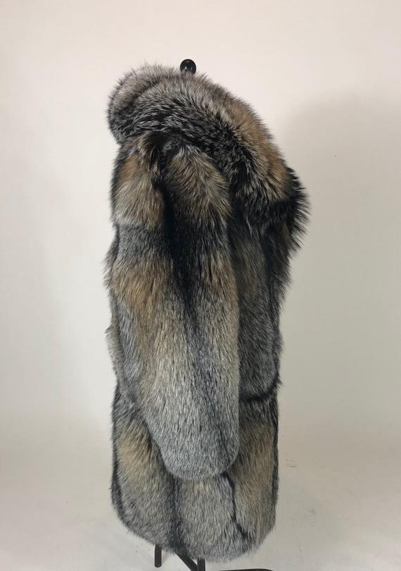 Luxury Gift Mens Full Length Cross Fox Fur Coat Fur Jacket Etsy Fox Fur Coat Mens Fur Coat Fur Coat