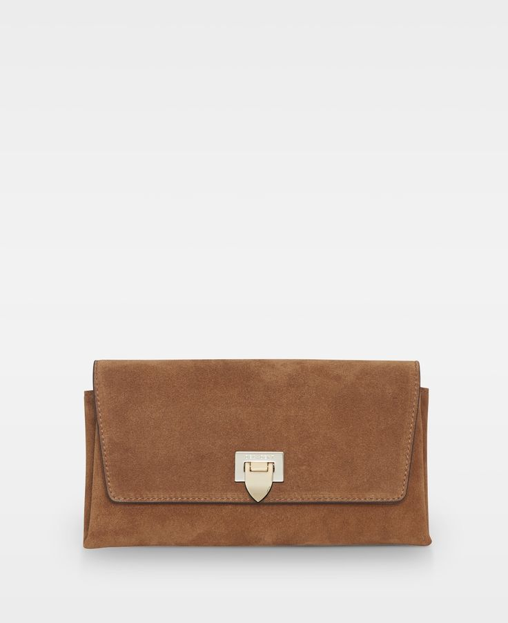 Decadent Small clutch w/ buckle -Suede cognac