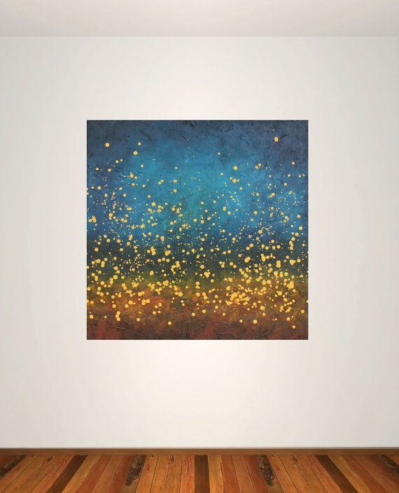 large modern abstract painting blue yellow stars night sky original acrylic on canvas