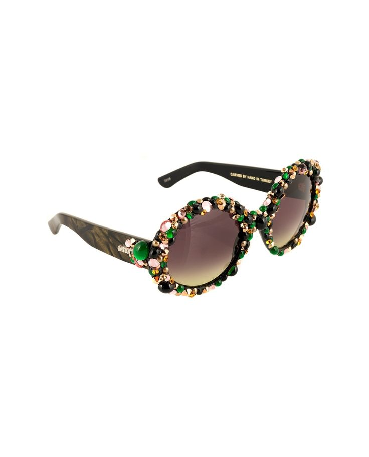 A-MORIR BRILL GREEN SUNGLASSES SS 2016 Sunglasses round oversize shape hand carved frame with crystals and pearls UV400 premium Italian lens hand applied Swarovski rhinestones hand made