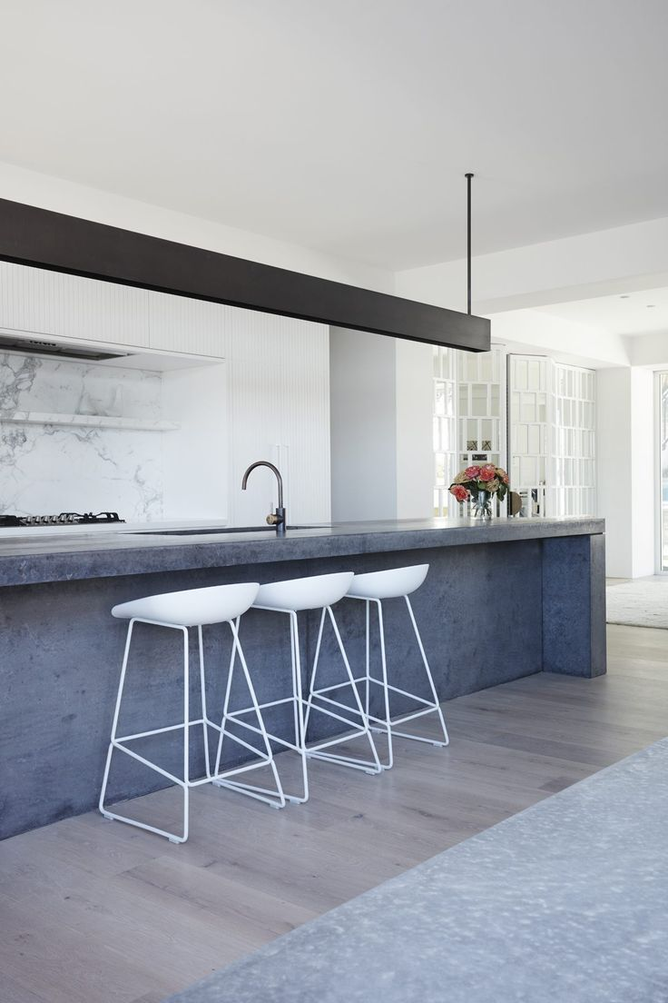 Island Inspiration, With Concrete Rough Textured Materials Against White    By Madeleine Blanchfield Architects