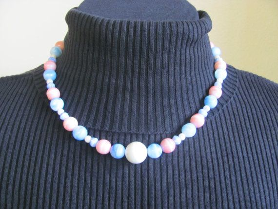 Bead necklace Cotton Candy light Blue pink and by StudentShop13