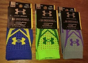 NEW Under Armour Undeniable Stephen Curry 30 Basketball Socks YOUTH Large L Boys