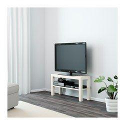 IKEA - LACK, TV-Bank, weiß, , Durch die Öffnung auf der Rückseite lassen sich Kabel sammeln und ordnen.