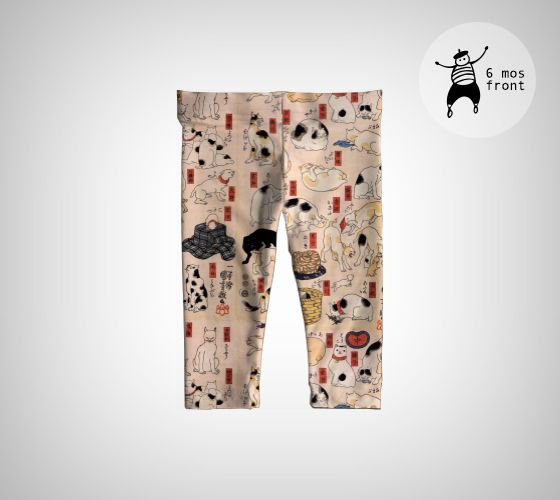 Cats suggested as the fifty-three stations of the Tokaido by Kuniyoshi Utagawa on comfy baby leggings. Expose your baby to culture no matter where she crawls.