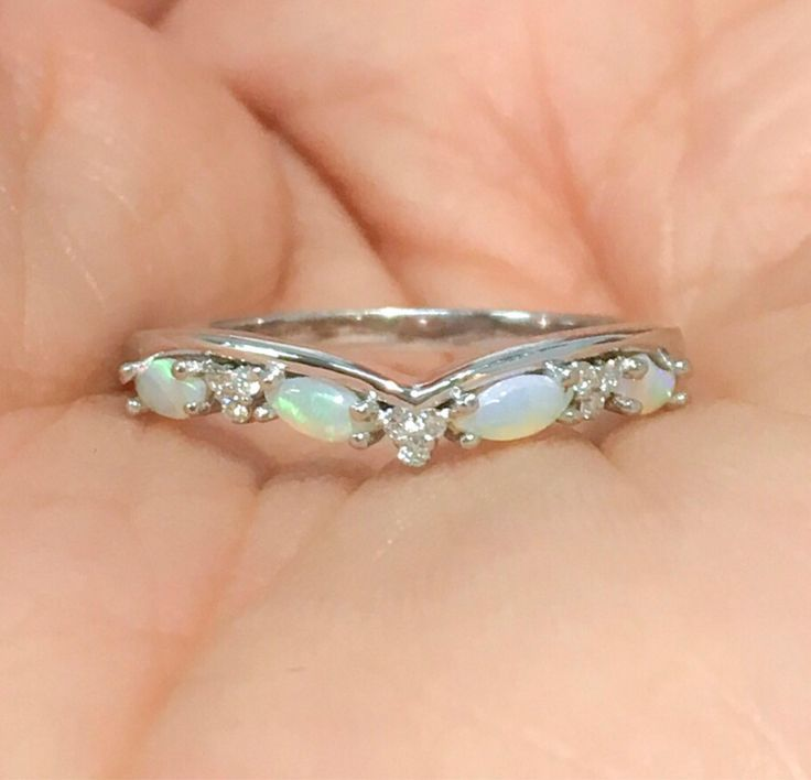 Opal Shadow Band Curved Diamond Contour Tracer Eternity Band Opal Solitaire Wrap Guard Diamond Opal Enhancer Ring Diamond Crown Matching 14K by SARRIEL on Etsy