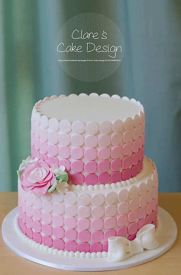 Pink Ombre Dot Cake