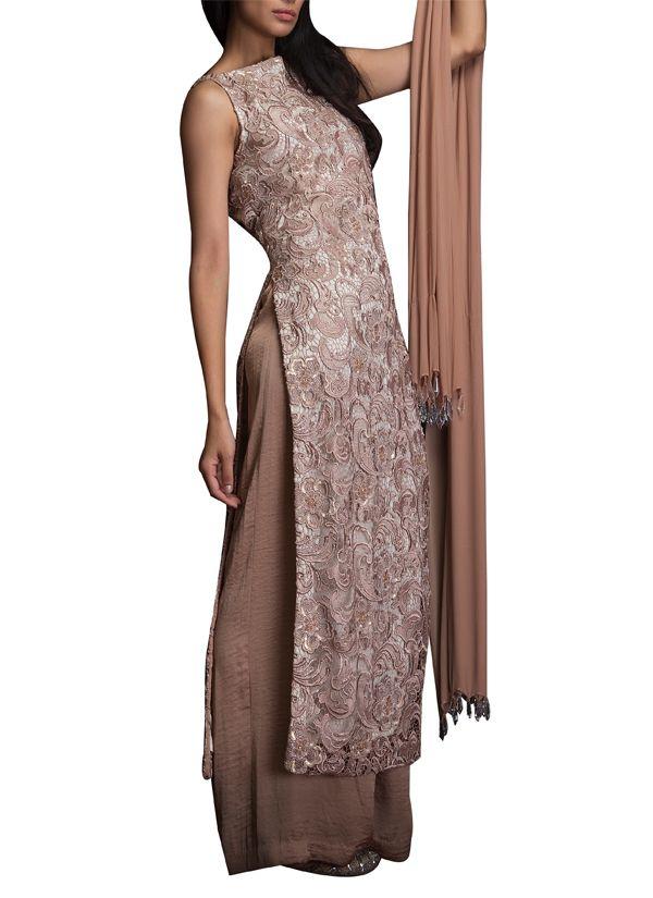 Indian Fashion Designers - Siddartha Tytler - Contemporary Indian Designer Clothes - Salwars - ST-SS14-BA13-SUIT-001 - Elegant Beige Suit