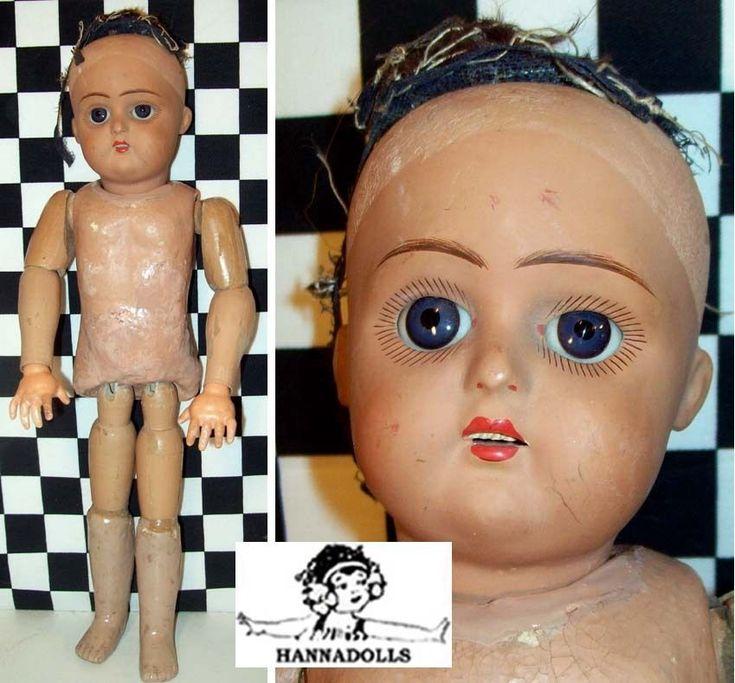 """Темно-15"""" обожженная глина 1920-х годов Белокожие куклы из дерева и бумаги Маше. Глаза темно-синие и они спят. Я никогда не видел вес на сна глаза, как у этого. Картина похожа на картины на суп из головы.   ибее!"""
