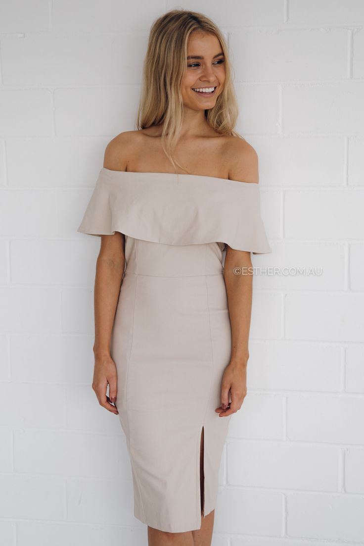 tribeca off shoulder dress nude esthercomau