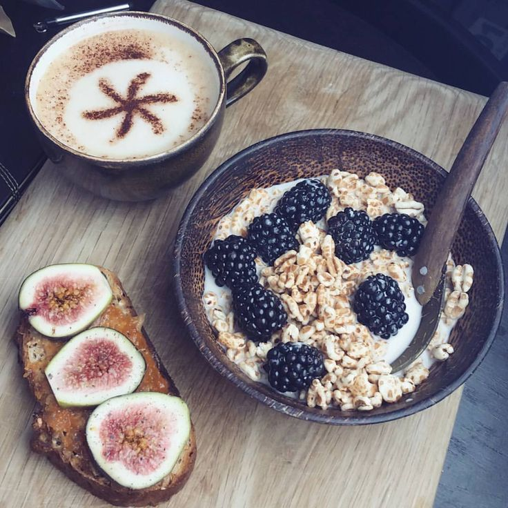 "figs-on-toast: "" Starting this morning with Fig & Hazelnut Rye Toast topped with #pipandnut Maple Peanut Butter, Pumpkin Jam, Fresh Figs & Ground Cacao Nibs, #RudeHealth Honey Spelt Puffs with Blackberries & Cashew Milk + a Salted Caramel Cappuccino..."