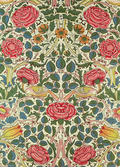 """Rose,"" William Morris.  Arts and Crafts Movement.  Botanical design and pattern."